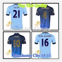 Best Thai Quality  Manchester city 2015 KOMPANY DZEKO KUN AGUERO TOURE YAYA black Jerseys Manchester city Soccer Jerseys 14/15