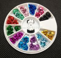 12 Color Metallic Rose Nail Art UV Gel Tips Deco Wheel 6mm