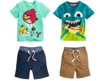 BCS122 Free shipping 2014 new boys clothing sets (T-shirt + pants ) 2pcs casual cartoon children's clothes kid suit retail