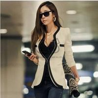 2014 New Fashion Winter Women Slim Blazer Coat Casual Jackets Long Sleeve V-Neck Black White One Button Suit OL Outerwear