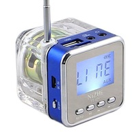 Nizhi TT-028 Speaker Mini Portable LCD Crystal LED Loundspeaker Subwoofer Micro SD Card FM Radio Music Speakers For iPhone ZKT