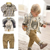 Baby Boys Long-Sleeve Plaid T-Shirt+Cartoon Printed Top+Casual Trousers 3pcs Set Children Outfits Clothing Kid's Leisure Suit