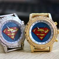 Fashion Oversized Super Man Sports fashion Quartz Wrist Watch Casual Watch Gold Silver Free Shipping # L05165
