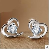 Brand New ,Top Quality ,S925 Sterling Silver ,1 Carat Pure Swiss CZ Diamond ,Love Heart Women Stud Earrings,free shipping