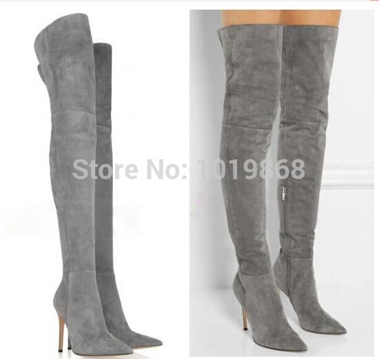 popular grey thigh high boots buy cheap grey thigh high