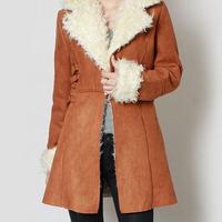 2014 new European and American women's winter coat ladies fashion European leg of lamb in the long section padded buckskinxjh61