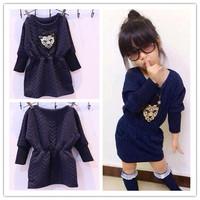 Top On Top wholesale new 2014 Autumn fashion high quality girl dress leopard head print leisure full sleeve dress no pants