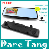 "Free Shipping Car Camera 6000B Android 4.0 system Car DVR Rearview Mirror 1080P Touch screen 4.3"" LCD with WIFI Bluetooth GPS"