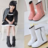 Autumn and winter children white female child soft leather medium-leg side zipper martin boots plus velvet shoes, Free shipping