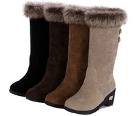 Womens Mid High Wedge Heel Winter fur boots snow shoes
