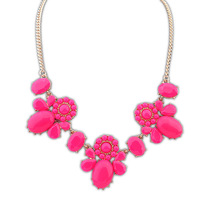 Women 18K gold necklace brand design fashion hot sweet oval lotus water droplets necklace 102200