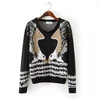 New Animal Pattern Women Warm Sweaters Winter Long Sleeve O Neck Lady Eagle Pattern Pullovers YS93914