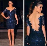 Honey Moda 2015 Women Sexy nightclubs Dress Vetement Femme Blue Tulle V neck Patchwork lace dress Vestidos casual