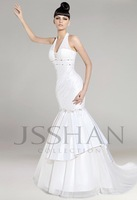 2014 hang type v-neck white wedding dress with seam bead ruch mermaid court train wedding dress