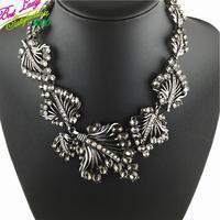 New Arrival Brand Vintage Luxury Leaf Gem Mental Luxury Statement Good Quality Collar Choker Necklace 9598