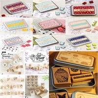 Min Order is $5,(24 Different Styles) DIY Scrapbooking Angel Stamps Set Vintage Wooden Box Rubber Craft Ink Pad Alphabet Stamp