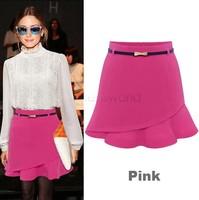 2014 Spring/Autumn Fashion Women High Waist Summer Ruffles Chiffon Mini Pencil Skirts Plus Size M-XL Blue/Pink SV19 CB032165