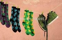8 pairs/lot cotton sock Weed Unisex Plantlife Socks Cannabis Marijuana Style Sockings Long Skateboarding 2014 New leaf