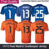 14 15 Real madrid Goalkeeper Blue Jersey KEYLOR NAVAS IKER CASILLAS PACHECO football shirts Orange Dragon soccer jerseys 2015