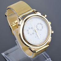 Quartz Watch Bright Gold Graduation Brand New Fashion All Metal Mesh Stainless Steel Women Wristwatch 25FMHM388#S5