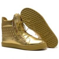 GZ origianl punk gold genuine leather flat height Golden rivet men and women lovers wedge sneakers,EUR 35-45,brand tenis shoes