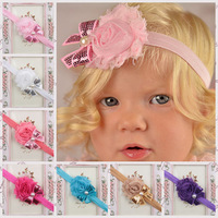 Lasted Baby Headband Shabby Chiffon Flower Kids Hair Band Sequin Bowknot Hair Accessories Girl Hair Boutique 10pcs/lot TS-14110