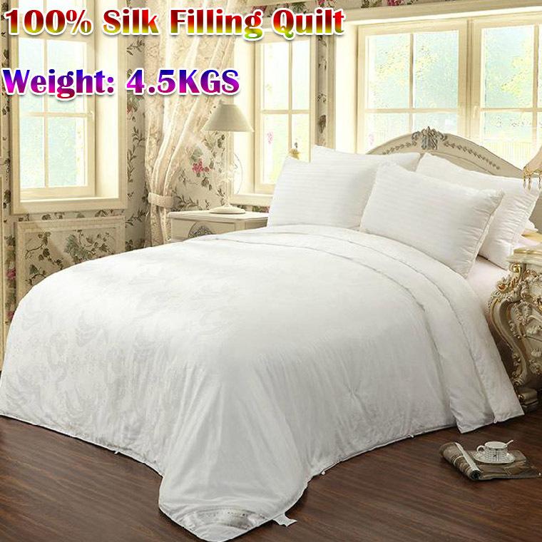 100% seta naturale gelso consolatore/coperta/trapunta, bianco inverno colori/regina/king size 220x240cm, 4,5 kg