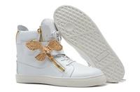 GZ origianl punk genuine leather height increasing metal eagle Golden zipper men and women lovers sneakers,EUR35-46,brand shoes