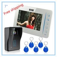"7"" Door Phone Doorbell Intercom Monitor Touch Key LCD Home Video System CCTV IR Camera"