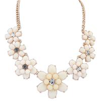 White Flower Gem Shourouk Drop Chain Collar Choker Statement Necklaces & Pendants New 2014 Fashion Jewelry Women Wholesale N182