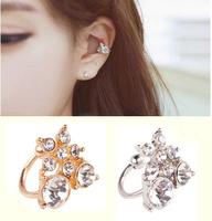 Newest Korea Fashion Earrings Brief Crystal Flower Ear Cuff Earrings For Women AE630-2