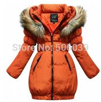 retail 2014 Winter girls down jacket  kids warm casual hooded long coat outwear children clothing