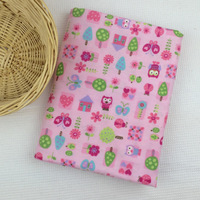 Fannel Fabric 100% Cotton Fabric Printed Pink Owl Textile For Baby Sleepwears Brushed Cloth Garments Cartoon Print Tissue Fn04