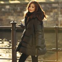 Hot sale White duck down Fashion Ladies' long Design Coat Winter Jacket Women Slim Solid Zipper Outerwear free shipping