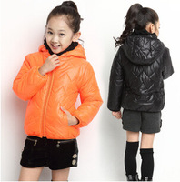 New 2014 winter Kids quilted hooded zipper jacket children's  thick coat girls  casual sport  cotton padded jacket