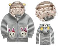 Retail New spring autumn cute rabbit pattern baby girl children winter outwear,long sleeve cotton kids jacket, girls winter coat