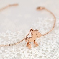 1 piece Free Shipping 2014 New Arrival rose gold plated little horse chian Bracelet