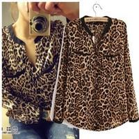 S-4XL women's new Fashion Leopard-print v neck long sleeve shirts women's plus size blouses NY008