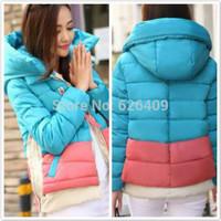 Women's Down Coat color Block color block decoration personality down coat women down parkas Hot Sale