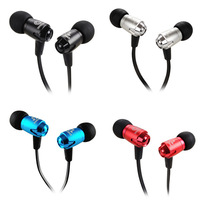 NEW Metal Deep Bass Earphones Headphones Headsets Noise Isolating With Mic For MP3/Mobile Phone Silver Black Red Blue  Color