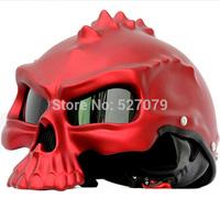 Skull Motorcycle Helmet Half Face Helmet Masei 489 Matt Red Standard for Harley_Davidson Biker