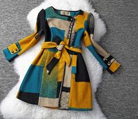 New arrival 2014 Winter women's geometry puzzle button decoration belt woolen overcoat print coat