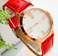 New Arriving Fashion Roman Numerals Leather Belt Watch Women Men Ladies Students Crystal Simple Analog Quartz Wristwatches