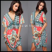 2015 NEW women sexy dress sexy clubwear mini party print dress  vestidos  casual dress free shipping