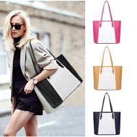 Famous Brands Fashion Women Color Block Tote,CONTRAST COLOR PU Leather Patchwork Large Capacity Shoulder Bag Handbag Bolsos