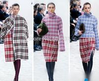High Grade Women's Mink Cashmere Woolen Contrast Color Grid Overcoat,Mid-Long Coat For Autumn And Winter