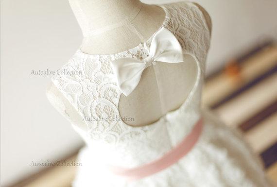 Baptism junior bridesmaid dress baby girl dress blush pink