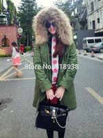 New 2014 autumn winter women raccoon fur trim hood thick mid-length jacket army green cotton canvas parkas outerwear hem slit
