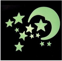 Moon and Star Glow in the Dark Luminous Fluorescent Plastic Wall Stickers