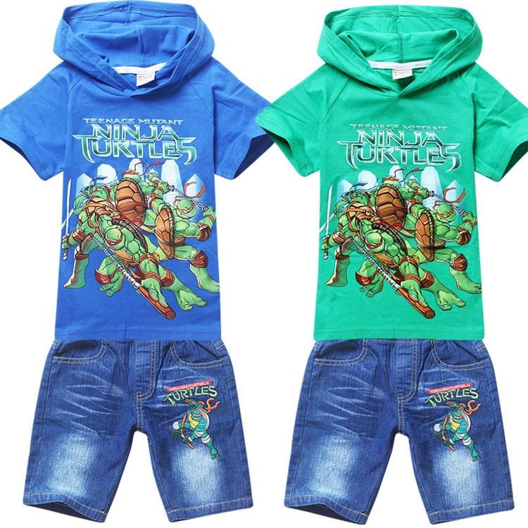 Hot boys cartoon teenage mutant ninja turtls t-shirt+jeans suits kids summer leisure clothing set children's printed t shirts(China (Mainland))